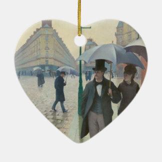 Rue DE Parijs Temps DE Pluie door Gustave Keramisch Hart Ornament