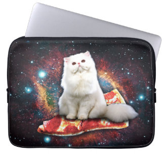 Ruimte kattenpizza laptop sleeve hoes