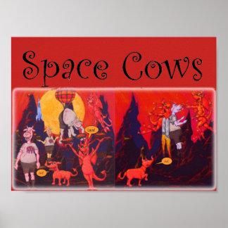 Ruimte Koeien op Mercury Poster