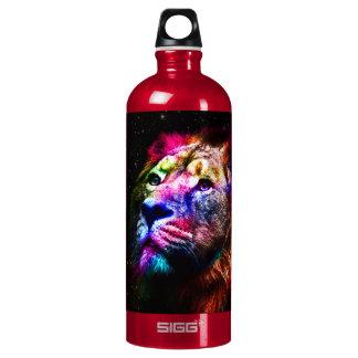 Ruimte leeuw - kleurrijke leeuw - leeuwkunst - aluminium waterfles