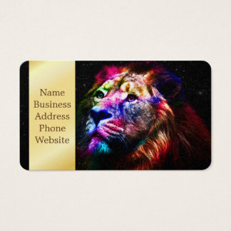 Ruimte leeuw - kleurrijke leeuw - leeuwkunst - visitekaartjes