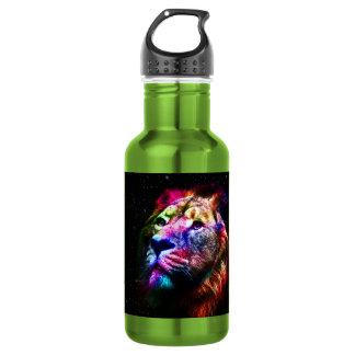 Ruimte leeuw - kleurrijke leeuw - leeuwkunst - waterfles
