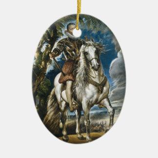 Ruiter Portret van de Hertog van Lerma Rubens Keramisch Ovaal Ornament