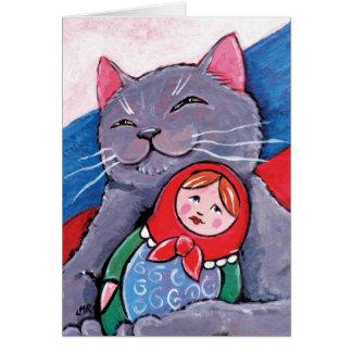 Russisch Blauw en Babushka Doll | het Wenskaart