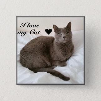 Russisch Blauw. Ik houd van mijn Kat ♥ Vierkante Button 5,1 Cm