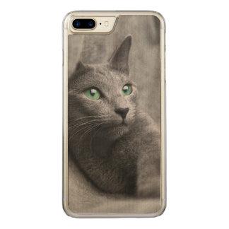Russisch-blauw-kat-met groene ogen carved iPhone 8 plus / 7 plus hoesje