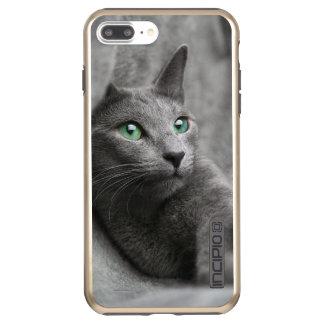 Russisch-blauw-kat-met groene ogen incipio DualPro shine iPhone 8/7 plus hoesje