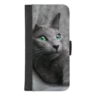 Russisch-blauw-kat-met groene ogen iPhone 8/7 plus portemonnee hoesje