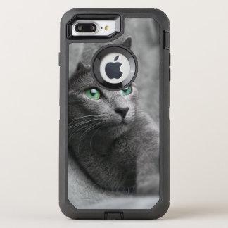 Russisch-blauw-kat-met groene ogen OtterBox defender iPhone 8 plus / 7 plus hoesje