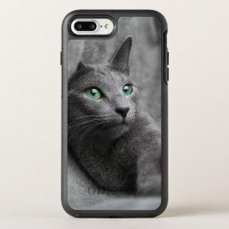 Russisch-blauw-kat-met groene ogen OtterBox symmetry iPhone 8 plus / 7 plus hoesje