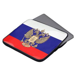 Russische glanzende vlag computer sleeve