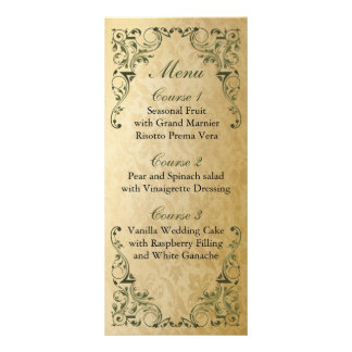 rustic green regal wedding menu rack cards