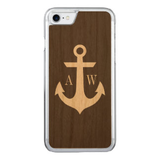 Rustiek Anker Met monogram Woodback Carved iPhone 8/7 Hoesje