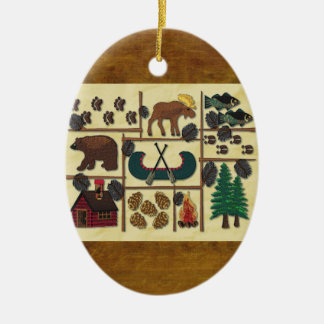 Rustiek breng Kerstmis van de Cabine van het Land Keramisch Ovaal Ornament