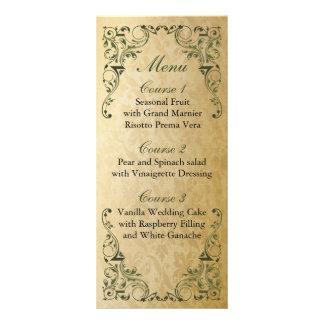 rustiek groen vorstelijk huwelijksmenu 10,2x 22,9 cm reclamekaart