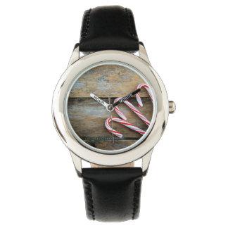 Rustiek Hout met het Riet van het Snoep van Horloges
