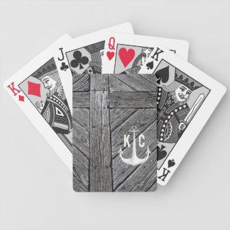 Rustiek houten vintage anker zeevaartmonogram poker kaarten