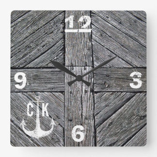 Rustiek houten vintage anker zeevaartmonogram vierkante klok