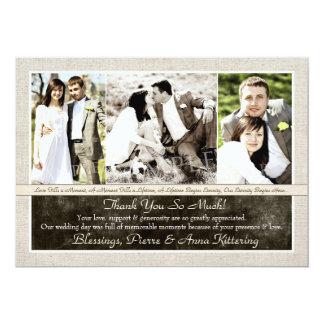 Rustiek Huwelijk Drie Foto dankt u Kaarten 12,7x17,8 Uitnodiging Kaart