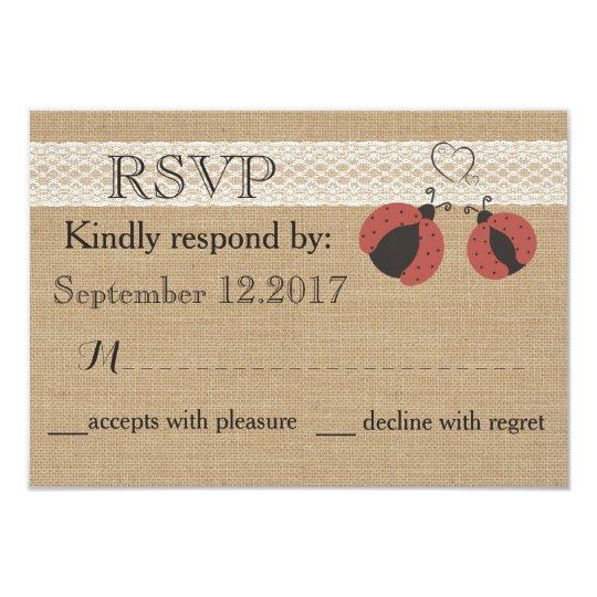 Rustiek romantisch de lieveheersbeestjeshuwelijk 8,9x12,7 uitnodiging kaart