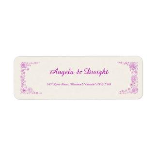 Rustiek roze terugkeeradres etiket