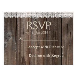 Rustiek van het de kaarthuwelijk van het Land RSVP Briefkaart