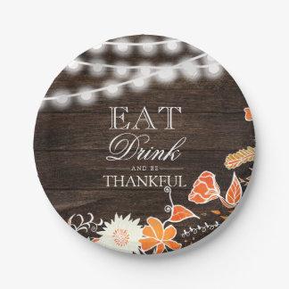 Rustieke dankbare typografie houten Thanksgiving Papieren Bordje