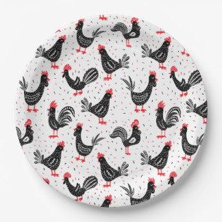 Rustieke hanen papieren bordje