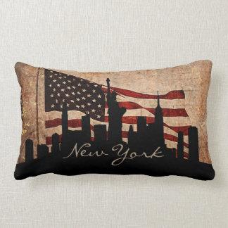 Rustieke Horizon   van New York van de Vlag van Lumbar Kussen