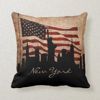Rustieke Horizon   van New York van de Vlag van Sierkussen