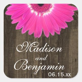 Rustieke Houten Hete Roze Daisy Wedding Favor Vierkante Sticker