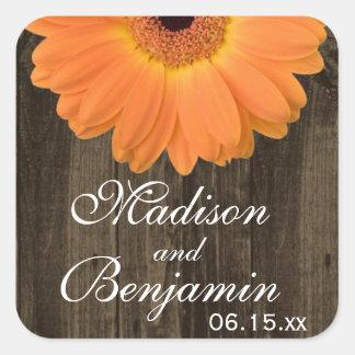 Rustieke Houten Oranje Daisy Wedding Favor Vierkante Sticker
