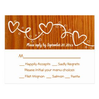 Rustieke Huwelijk van het Hart van het land RSVP Briefkaart