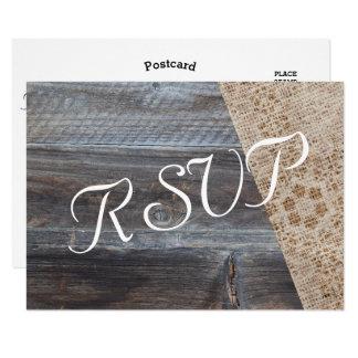 Rustieke Jute en Houten Huwelijk RSVP Kaart