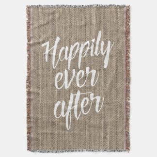 Rustieke Jute gelukkig ooit na Huwelijk Deken