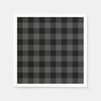 Rustieke klassieke grijze en zwarte plaid wegwerp servetten