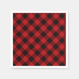 Rustieke klassieke rode plaid wegwerp servet