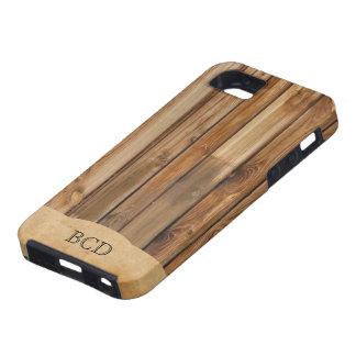Rustieke Land met monogram het Houten van het Perk Tough iPhone 5 Hoesje