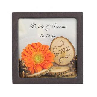 Rustieke Oranje Daisy Woodland Wedding Premium Juwelen Doos