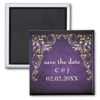 rustieke paarse vorstelijk sparen de datummagneten