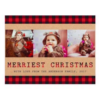 Rustieke Plaid | van Buffels de Groet van Kerstmis Briefkaart