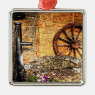Rustieke Pomp, goed en scène Cartwheel Zilverkleurig Vierkant Ornament