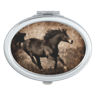 Rustieke Sepia Galopperend Paard Makeup Spiegels