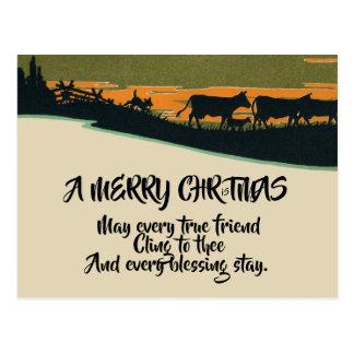 Rustieke Victoriaans Westerne Kerstmis van de Briefkaart