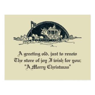 Rustieke Vintage Victoriaans Stagecoach Kerstmis Briefkaart