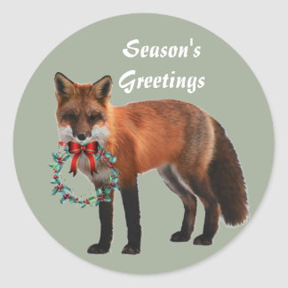 Rustieke Vos om de Glanzende Sticker van Kerstmis,
