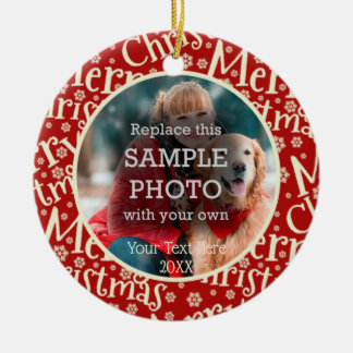 Rustieke Vrolijke Kerstmis, Foto Twee, Met twee Rond Keramisch Ornament