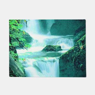 Rustige Waterval in Blauw en Groen Deurmat