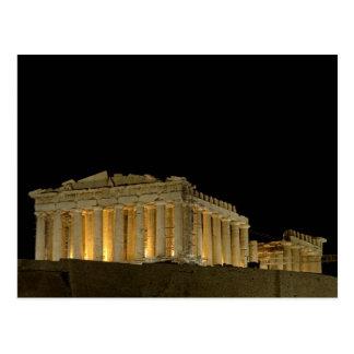 's nachts het Briefkaart van Parthenon