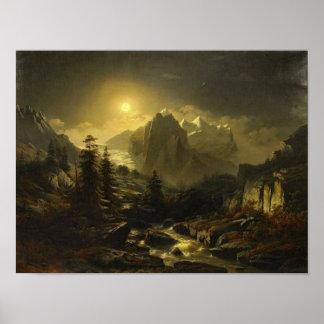 's nachts het Landschap van de berg Poster